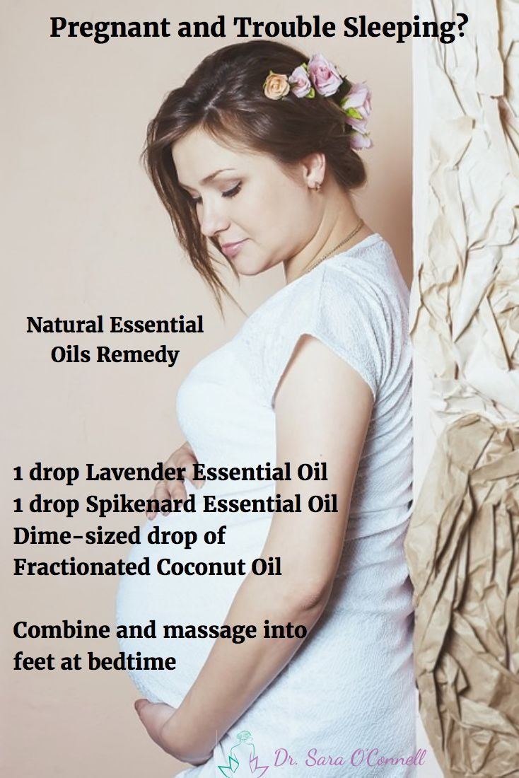 Trouble sleeping and relaxing at night during pregnancy? Try this natural health essential oils remedy for better sleep during pregnancy. 1 drop Lavender, 1 drop Spikenard, combine with fractionated coconut oil and massage onto feet at night for more peaceful sleep during pregnancy and beyond.