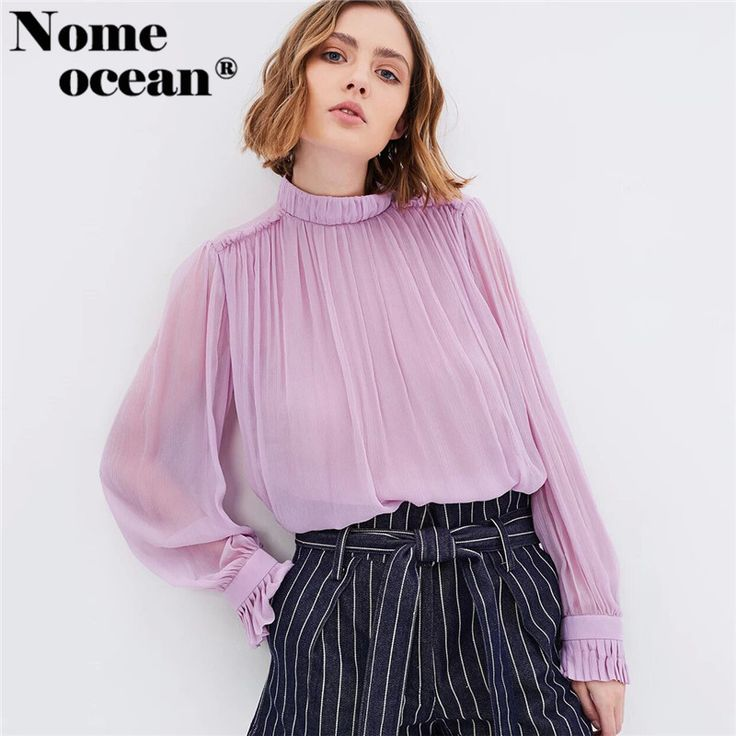Find More Blouses & Shirts Information about Elastic Stand Collar Chiffon Blouses 2017 New Arrival Long Sleeve Shirts for Women Cut Out Back Pleated Trim OL Shirt M17110303,High Quality shirts for women,China sleeve shirt Suppliers, Cheap long sleeve shirt from Boutique, Big  Bang  on Aliexpress.com