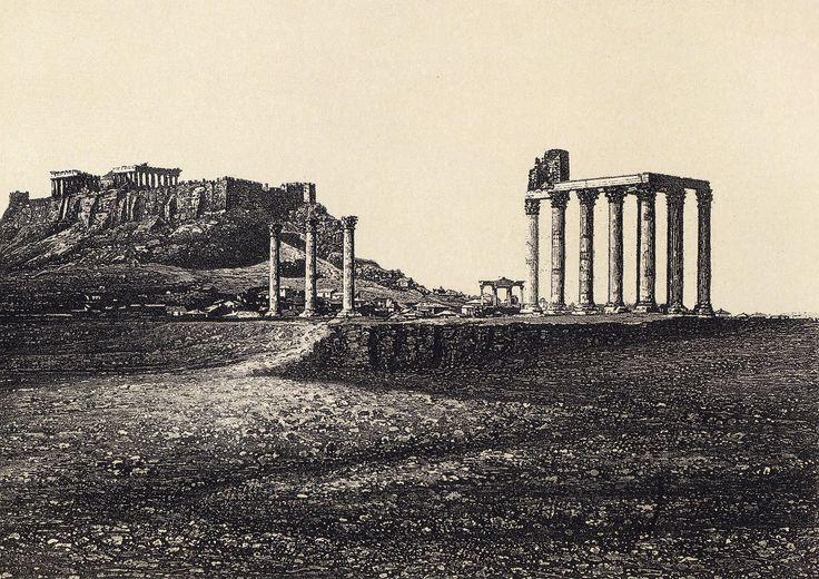 Το Ολυμπίειον και ο ιερός βράχος της Ακροπόλεως  Αθήνα, Οκτώβριος 1839  Φωτογράφος: Pierre-Gustave-Gaspard Joly de Lotbinière [γεν. 5.2.1798 – † 8.6.1865]  Δράση στην Ελλάδα: 1839