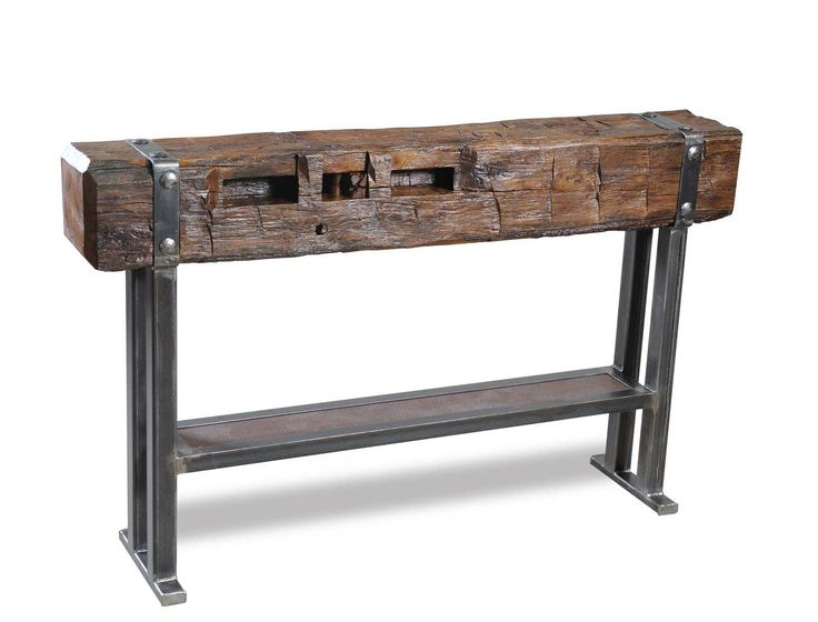 Bar Beam Tables Beam Bar Table / Console made from steel and old hand hewn beam from 150 year old Amish barn.