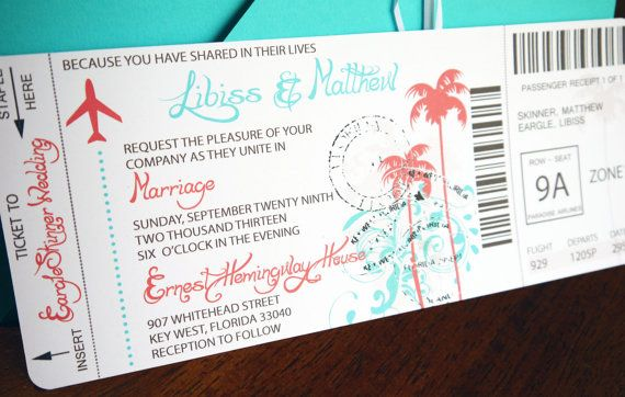 Love this idea for a destination wedding invite! aqua teal orange brown white boarding pass by eLeSinvitationsLLC, $4.50