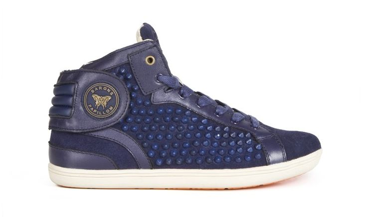 Collection Barons Spikes :  Modèle Cuir Suede Navy TON/TON Available On Our Website : www.baronspapillo...