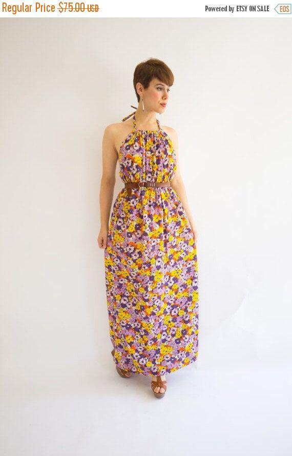 Summer Sale Vintage 1970's Floral Halter Maxi Dress, Size-(S,M,L) by LaBrujaVintage on Etsy https://www.etsy.com/au/listing/451862492/summer-sale-vintage-1970s-floral-halter