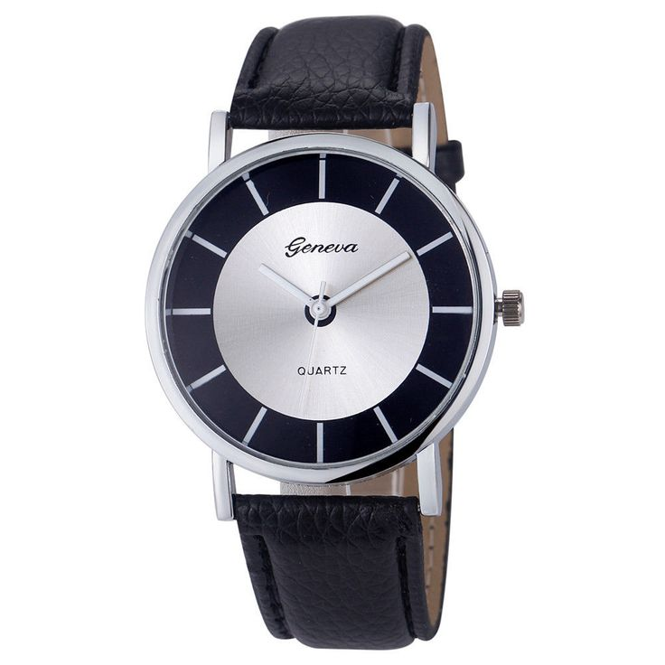 Elegant Formal Dress Pu Leather Strap Black Woman Gift silver Face Teen Watch #Unbranded #DressFormal