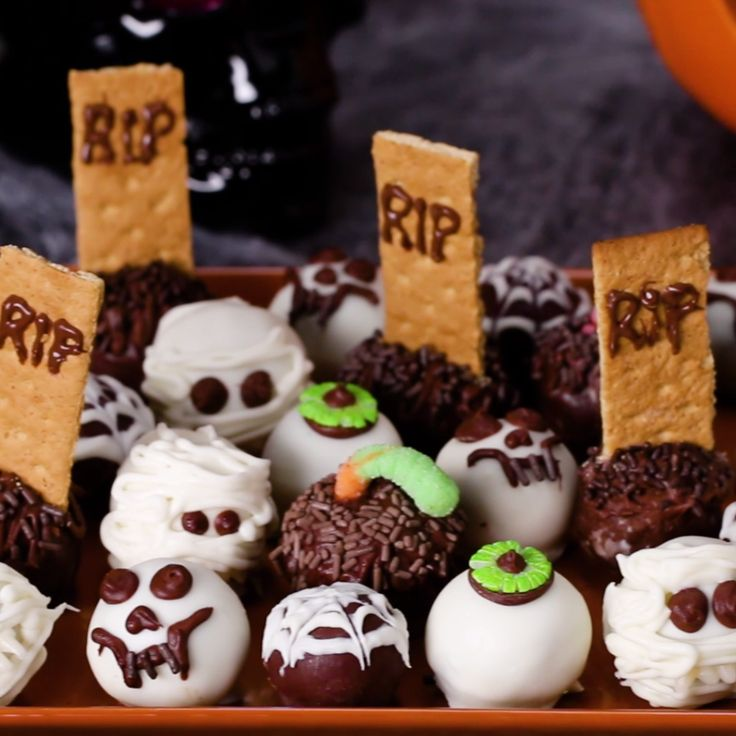 (Halloween) brownie bites, but totally good ideas for a birthday party too! (They have a dirt worm one!)
