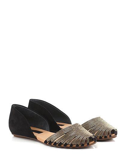 Carrano - Scarpa bassa - Donna - Scarpa bassa in pelle laminata con applicazione strass e suola in gomma. - BLACK\GOLD - € 159.00