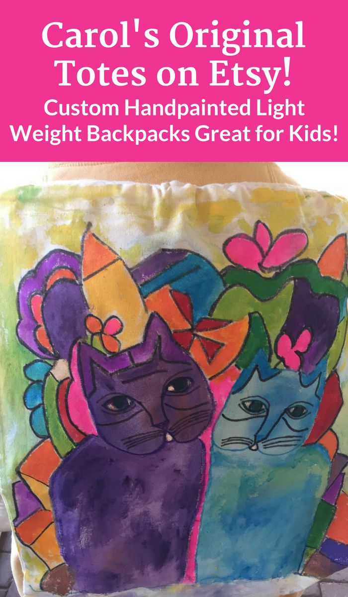 Cute custom hand painted lightweight backpack. My bags are made from sturdy 100% cotton canvas so they're durable. All tote designs are custom, hand painted by me with non- toxic fabric paints. Great for kids!