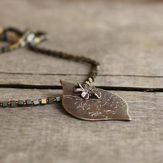 Apple Blossom Necklace Wife Gift Bohemian Jewelry by Naryajewelry