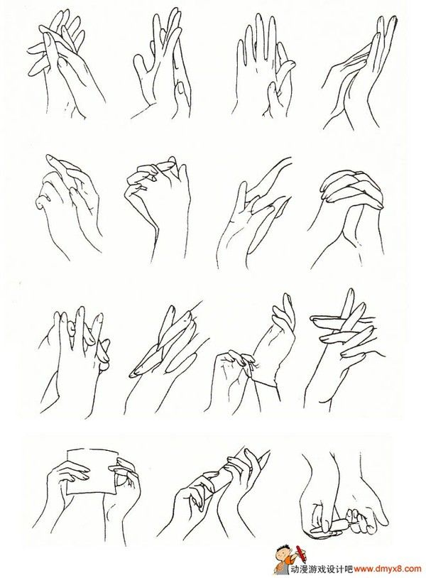 I love hands, and I hate them! They're a real challenge to draw. Each hand is like a whole character in itself; they can set the whole mood and tell the story.