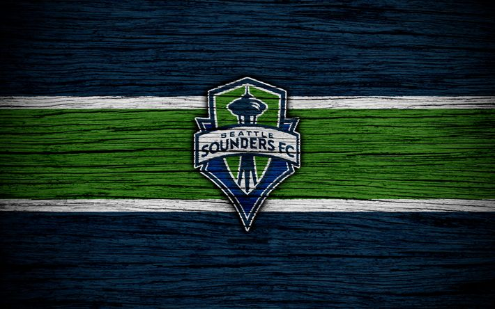Download wallpapers Seattle Sounders, 4k, MLS, wooden texture, Western Conference, football club, USA, Seattle Sounders FC, soccer, logo, FC Seattle Sounders
