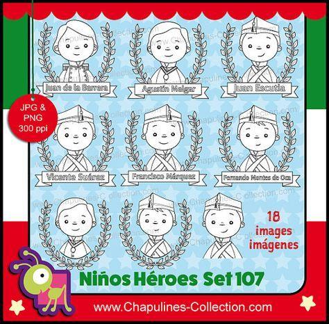 60% desc. Niños Héroes clipart, ilustraciones escuela, imágenes México,  Set 107