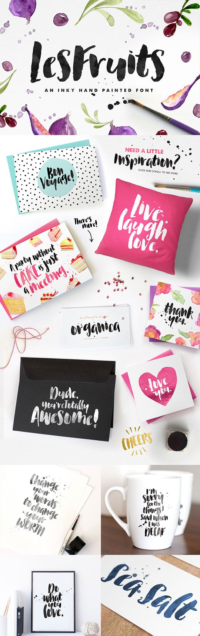 Love this brush font - Les Fruits! A casual, arty and inky, newly brush-lettered font with oodles of free extras to bring it to life!  Perfect for : using in ink or watercolour based designs or on its own as bold hand-brushed lettering :)