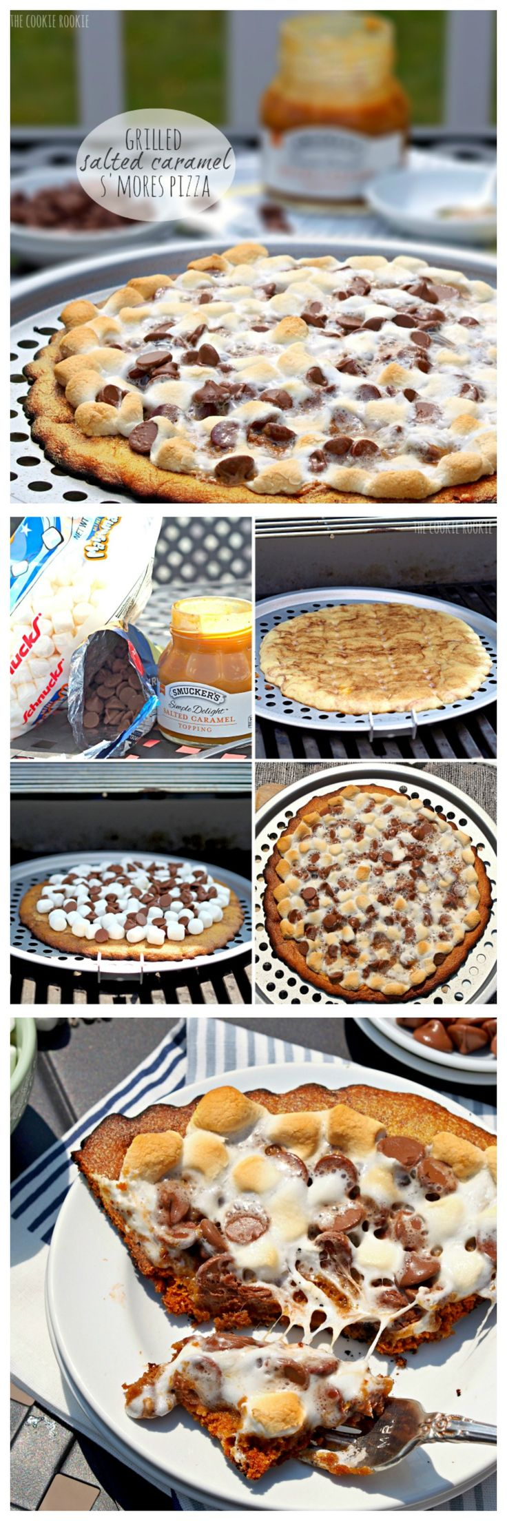 Grilled S'mores Pizza with Snickerdoodle Crust and Salted Caramel Sauce! Amazing.  - The Cookie Rookie