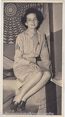 KATY ARMY WOMAN IN MILITARY SKIRT UNIFORM VINTAGE WWII AUTOGRAPH SIGNED PHOTO