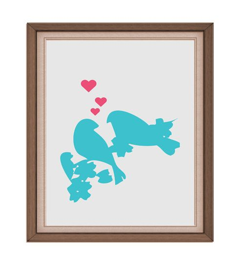 INSTANT DOWNLOAD  lovebirds  Printable Digital by rabbitsillusions