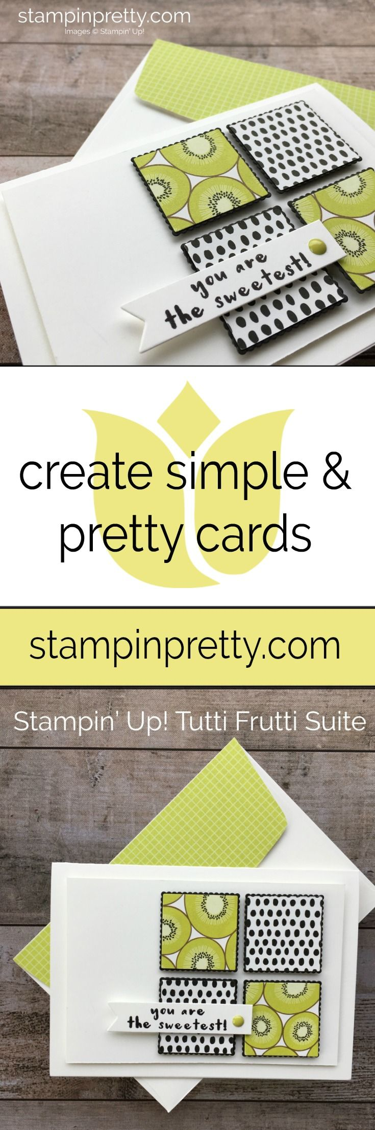 Tutti Frutti DSP Stack by Stampin' Up! makes for quick and easy Thank You Cards. Created by Mary Fish, Stampin' Pretty #maryfish #stampinpretty
