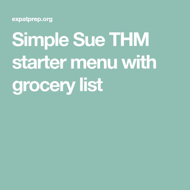 Simple Sue THM starter menu with grocery list