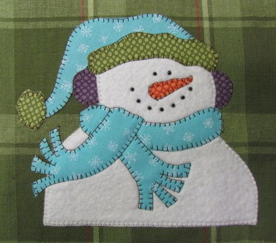 Frosty Applique  PDF Pattern for Tea Towel by quiltdoodledesigns, $3.00