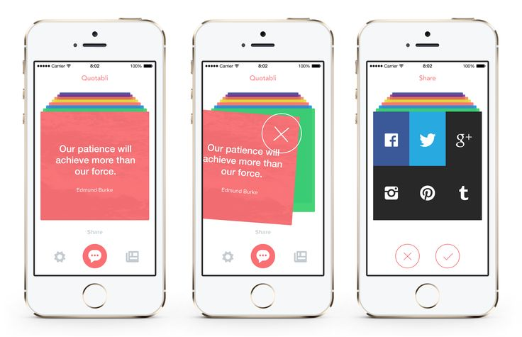 Quote Cards Mobile App UI | Flat User Interface Design