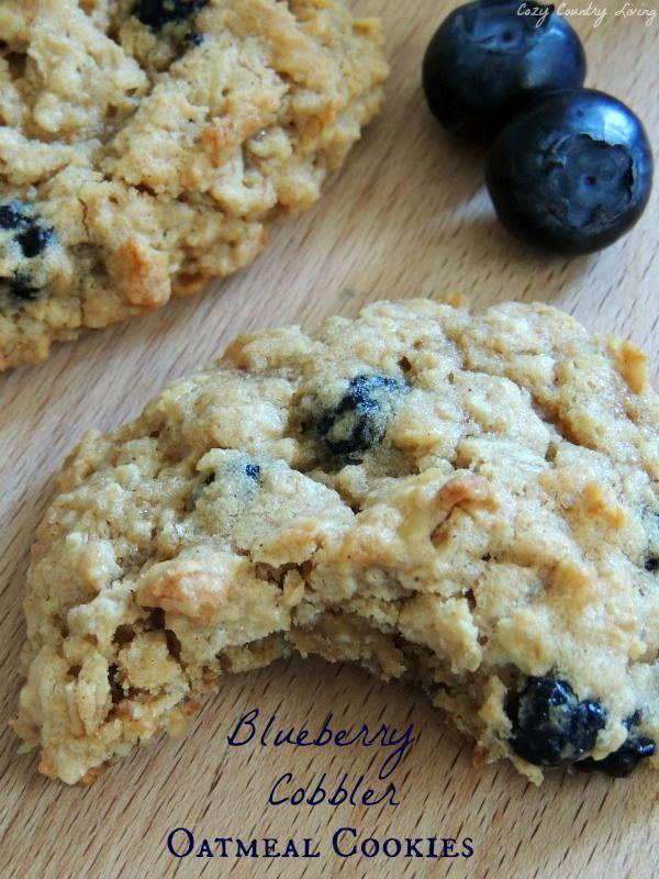 Blueberry Cobbler Oatmeal Cookies, slightly crisp on the outside, chewy on the inside and taste like summer's best Blueberry Cobbler!