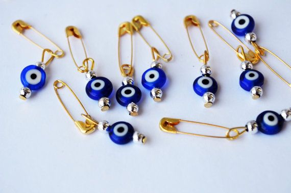 100 Pcs Wholesale Safety Pins Evil Eye Gift by PrettyTurkishThings