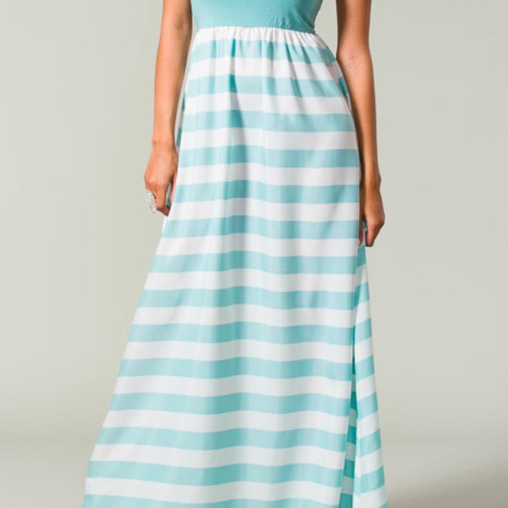 Baby Blue Stripe Maxi Dress $40 My Style