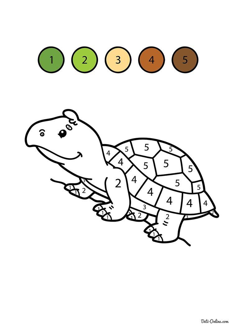 Раскраска Черепаха по цифрам распечатать или скачать ...