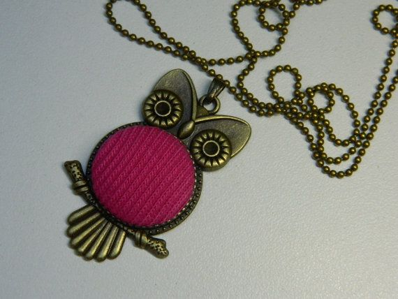 Fuchsia Fabric Button Owl Pendant Vintage by LittleRubyAtom