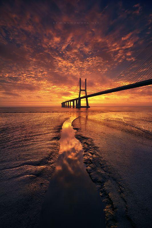 Vasco da Gama bridge at Lisbon, Portugal