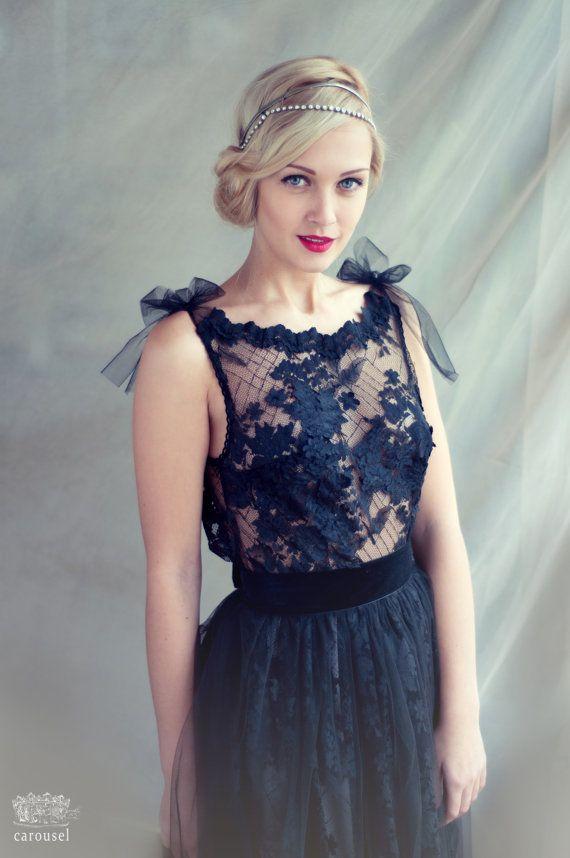 Black lace evening dress, open back dress. Floor lenth