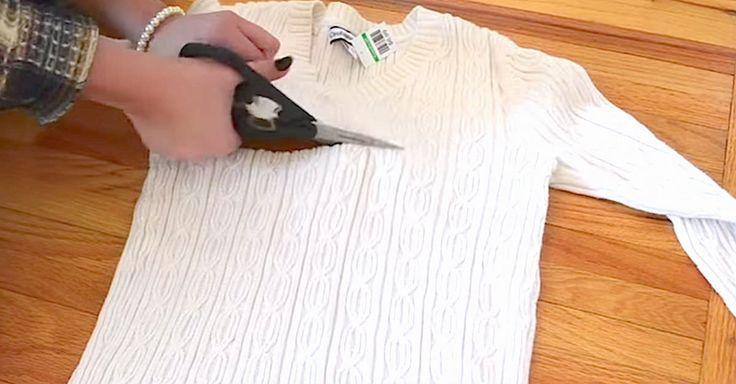 Elle coupe un vieux pull en deux... Le résultat ? J'ai hâte de m'en faire un !