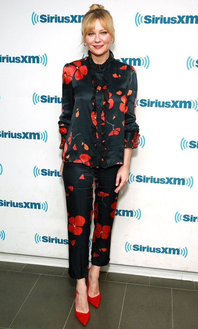 Kirsten Dunst in a Rodarte floral top and pants