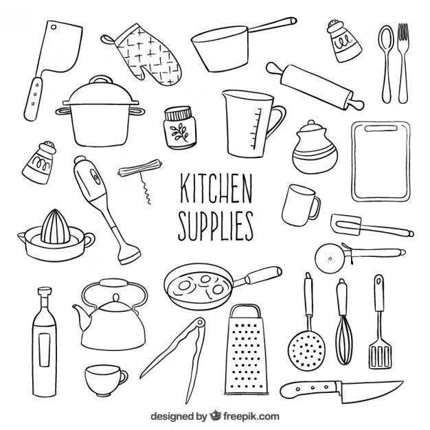 Utensilios de cocina esbozados Vector Gratis