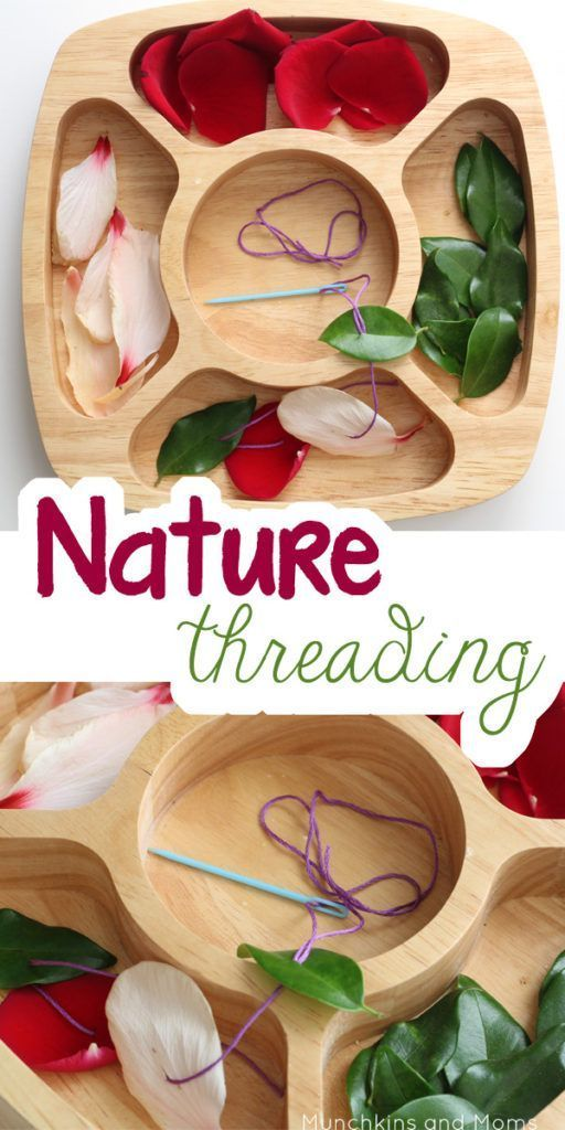 Fine motor work for preschoolers using nature finds!