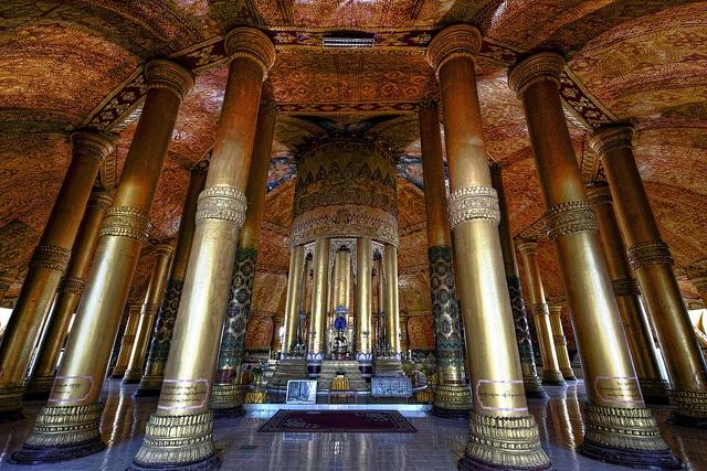 Sittwe Sanctum by Jon Sheer, via Flickr    Inside Buddhist temple in Sittwe, Arakhine State, Myanmar.