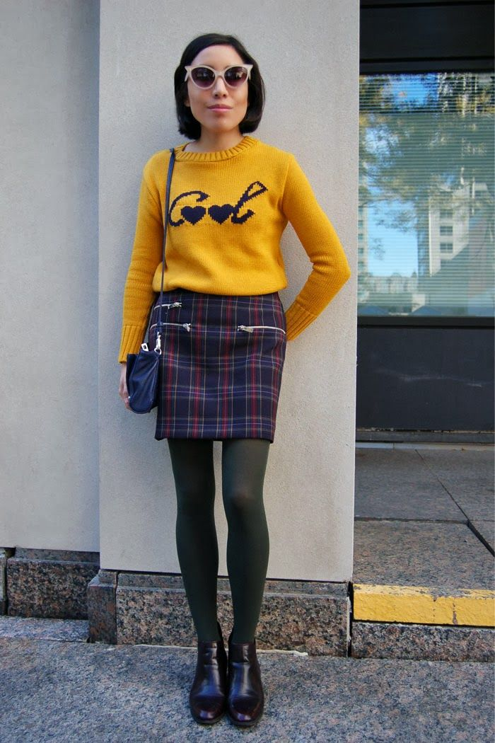 Fall style, plaid skirt