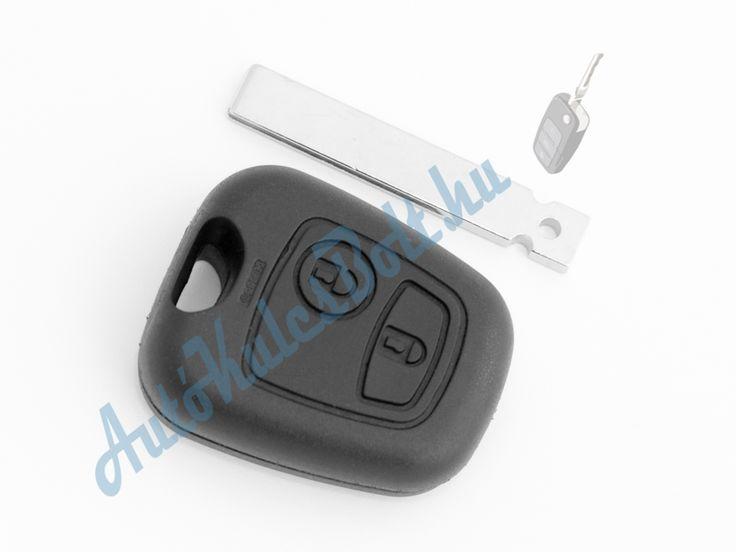 Citroen két (2) gombos kulcsház 407-es szárral. Elem, elektronika és immobiliser chip nélkül. Logót, márkajelzést nem tartalmaz.  http://autokulcsbolt.hu/citroen-kulcshazak/citroen-ketgombos-kulcshaz-407-es-kulcsszarral