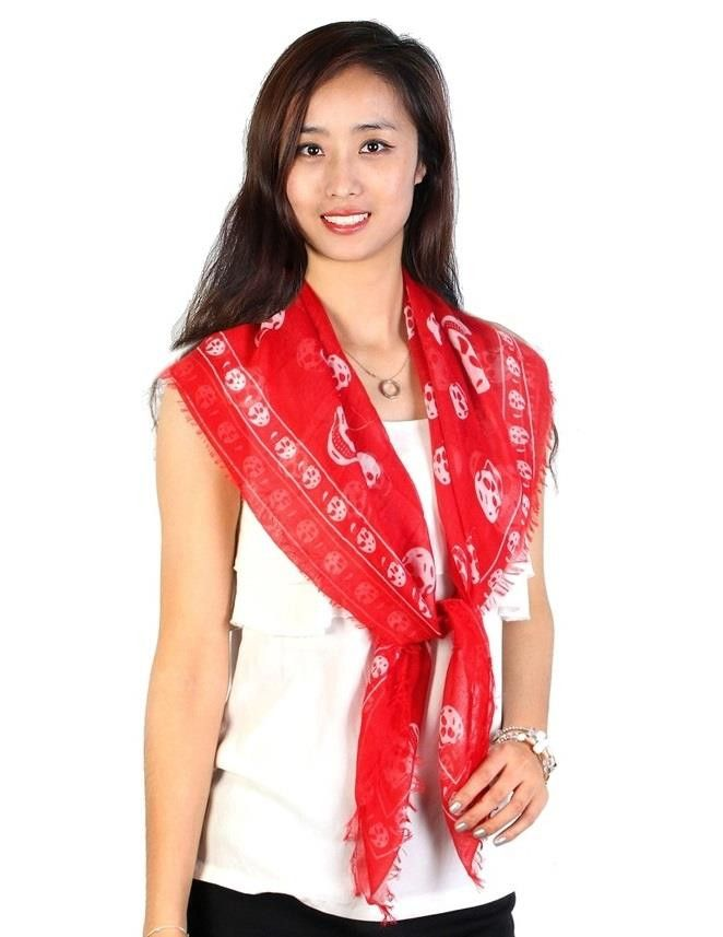 Classic Red Skull Print Scarf Frilled Edges