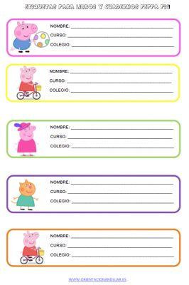 PEPPA PIG EN divertidas etiquetas para libros y cuadernos de nuestros hijos y alumnos - Orientacion Andujar