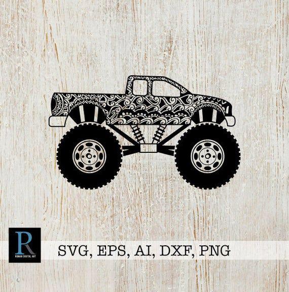 Download Mandala Monster truck SVG file, Monster truck Cricut ...