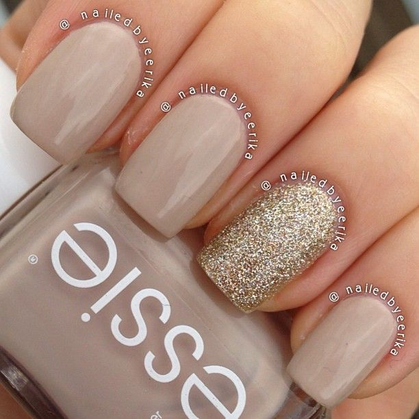 My super quick and simple #notd, essie sand tropez with china glaze I'm not lion accent nail