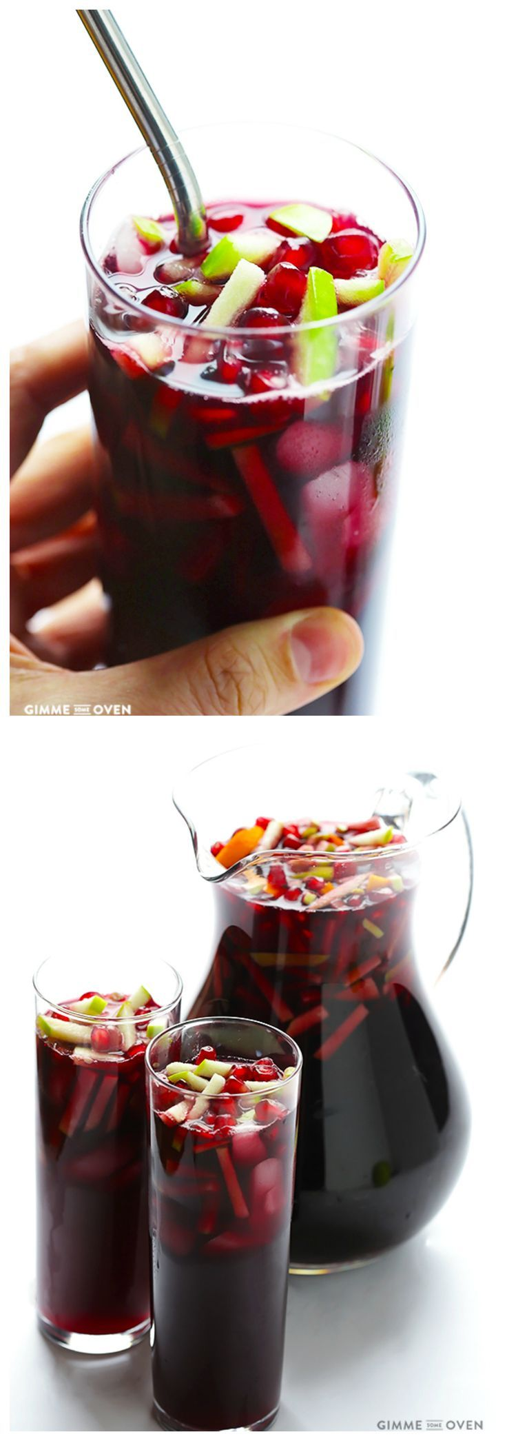 Pomegranate Green Apple Sangria -- quick and easy to make, and perfect for the holidays and Christmas!   gimmesomeoven.com