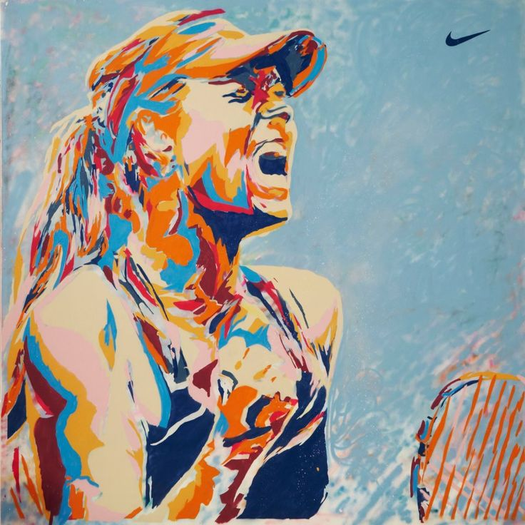 Maria's Facebook: I have finally had a chance to settle in and share some fun things my sponsors did for my victory. During the livestream of the final, Nike Tennis started with a blank canvas, 3 artists and hundreds of paint spray bottles and created this amazing image in just a few hours. All done in a warehouse in Amsterdam....many thanks for such a unique picture!