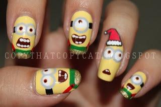 Despicable me Christmas minions #nail #nails #nailart