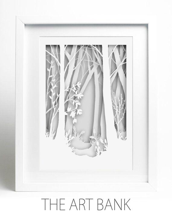 Encadré papier-découpé Woodland scène blanc sur par TheArtBank