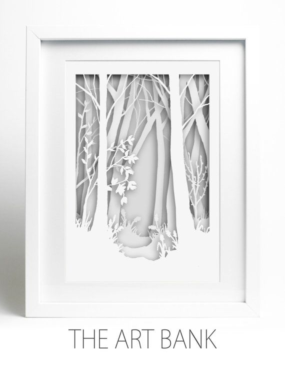 Were delighted to be able to offer our gorgeous, new Paper-cut art: Woodland Scene, white on white. PLEASE NOTE THIS ITEM IS FRAMED. Due to the