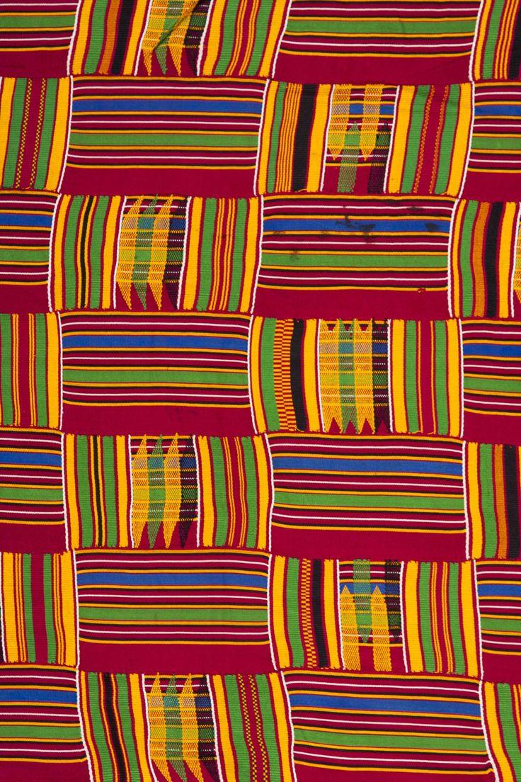 Africa | Detail from an Ashanti Kente strip woven cloth | Silk cotton mix