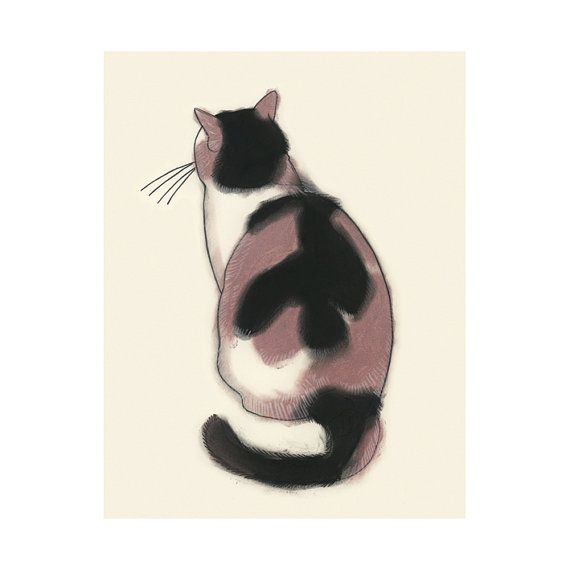 Cat art tortoiseshell cat   Contemplation  4 X 6 by matouenpeluche