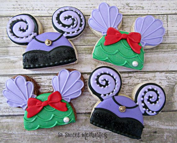 12 Sugar Cookies - The Little Mermaid Mickey Ears Party Supplies