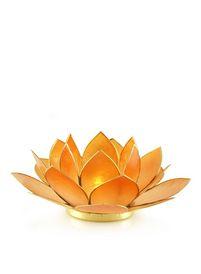 Lotusbloem als waxinehouder. Geeft een mooie sfeerverlichting. De blaadjes zijn met een rand van koper afgezet.